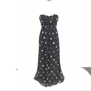 Banana Republic Dress SZ 0 Long PolkaDot Strapless